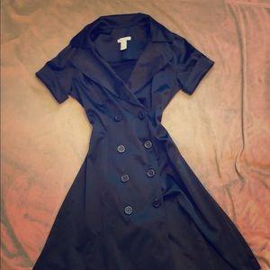 Classy Black Short Sleeved Bottom Down Dress sizeS